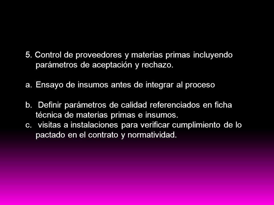 PRE-Requisitos HACCP 5. Control de proveedores y materias primas incluyendo parámetros de aceptación y rechazo. a.Ensayo de insumos antes de integrar