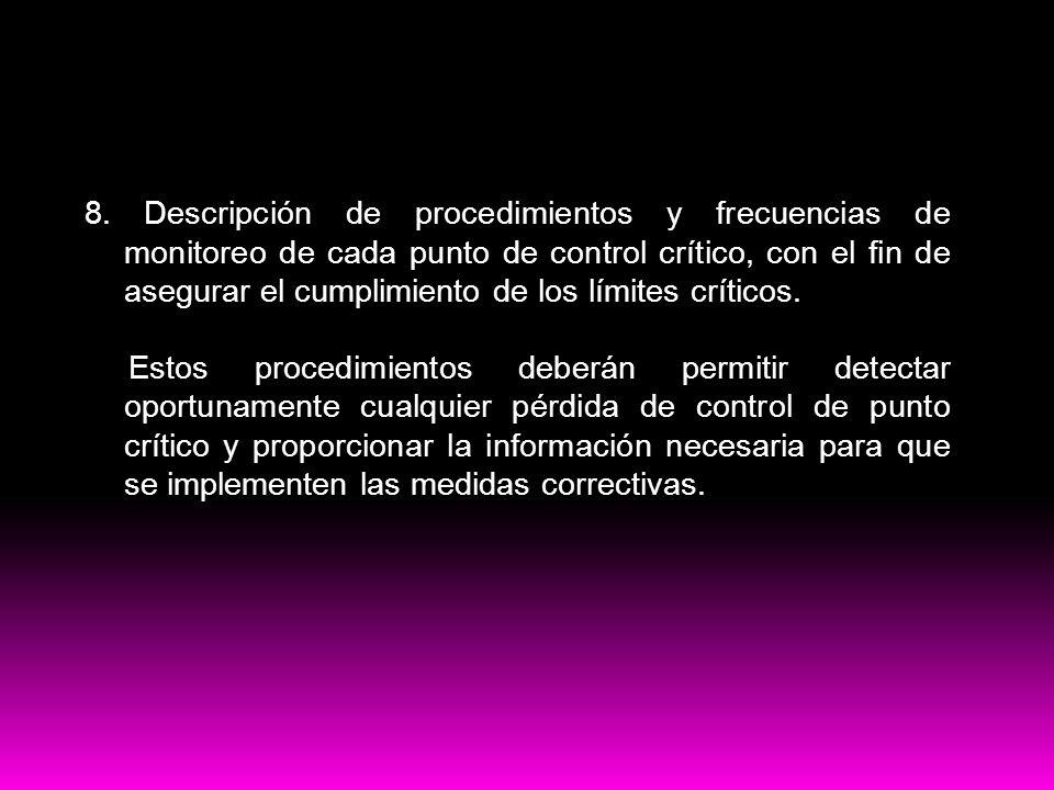Contenido del plan HACCP 8. Descripción de procedimientos y frecuencias de monitoreo de cada punto de control crítico, con el fin de asegurar el cumpl