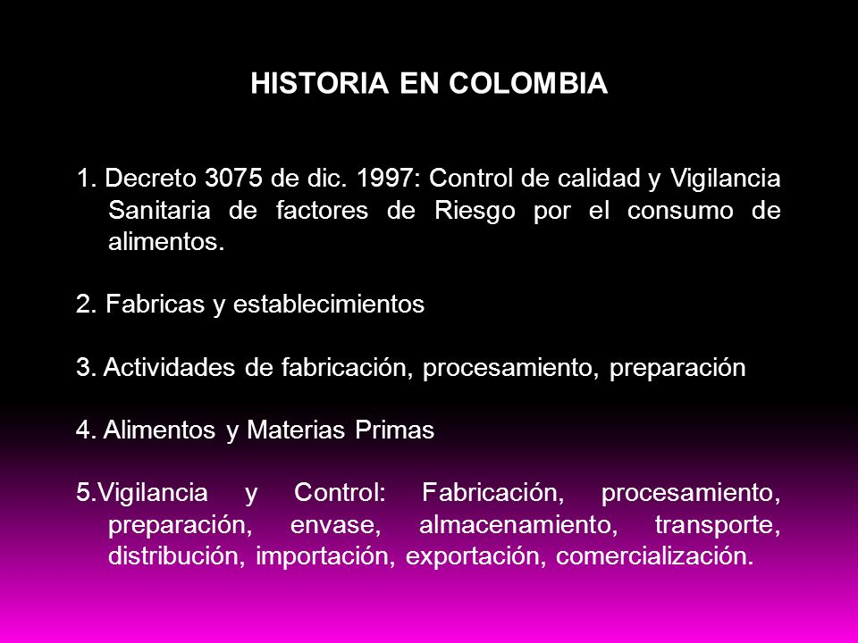 Buenas practicas HISTORIA EN COLOMBIA 1. Decreto 3075 de dic. 1997: Control de calidad y Vigilancia Sanitaria de factores de Riesgo por el consumo de