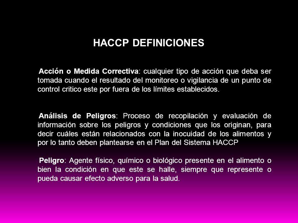 Buenas practicas HACCP DEFINICIONES Acción o Medida Correctiva: cualquier tipo de acción que deba ser tomada cuando el resultado del monitoreo o vigil