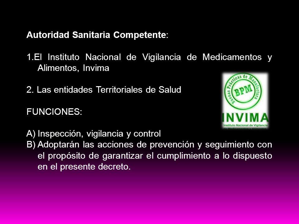 Buenas practicas Autoridad Sanitaria Competente: 1.El Instituto Nacional de Vigilancia de Medicamentos y Alimentos, Invima 2. Las entidades Territoria