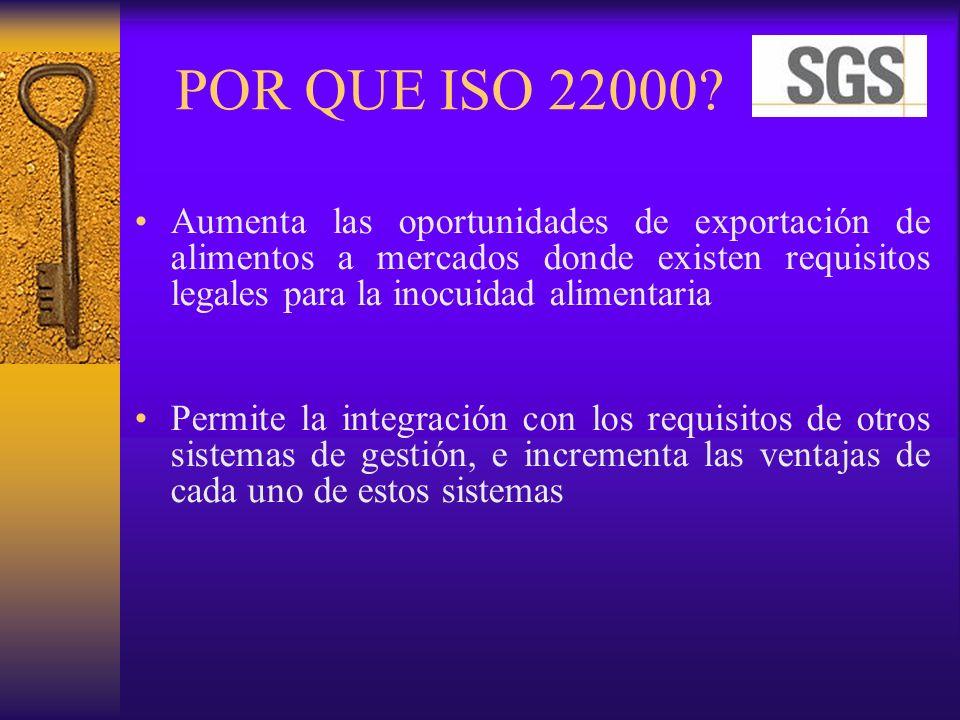 POR QUE ISO 22000? Aumenta las oportunidades de exportación de alimentos a mercados donde existen requisitos legales para la inocuidad alimentaria Per