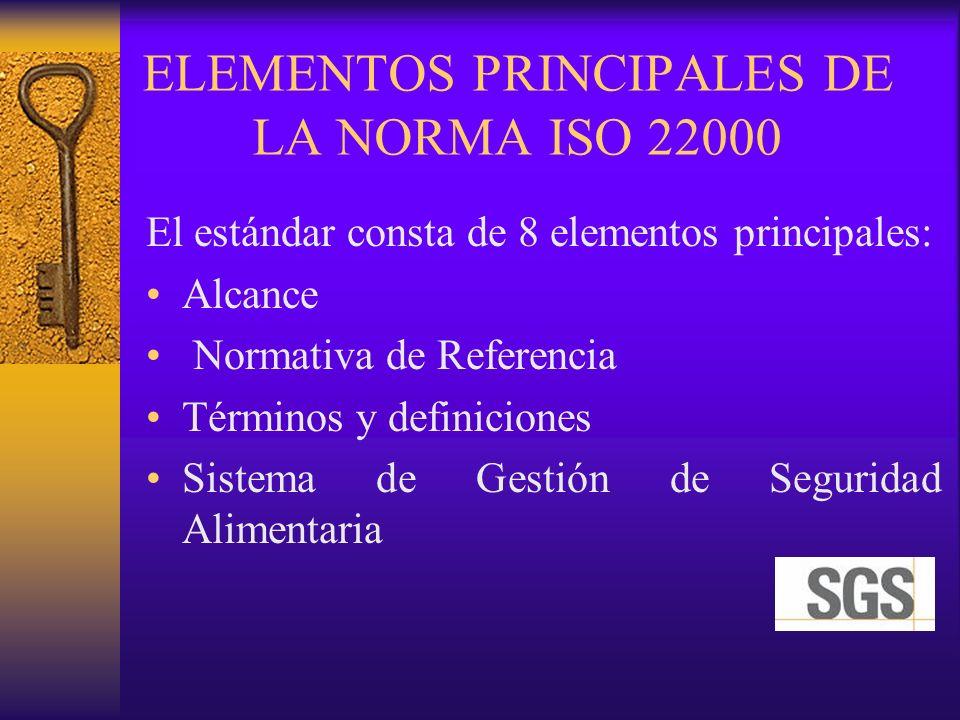 ELEMENTOS PRINCIPALES DE LA NORMA ISO 22000 El estándar consta de 8 elementos principales: Alcance Normativa de Referencia Términos y definiciones Sis