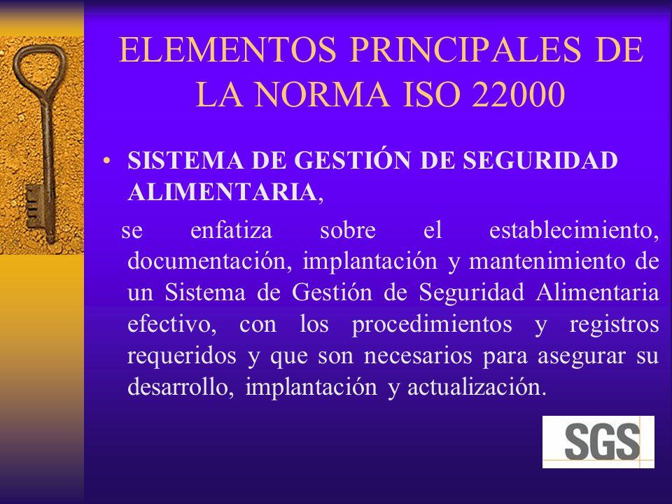 ELEMENTOS PRINCIPALES DE LA NORMA ISO 22000 SISTEMA DE GESTIÓN DE SEGURIDAD ALIMENTARIA, se enfatiza sobre el establecimiento, documentación, implanta