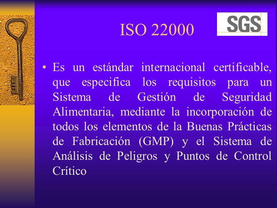 ISO 22000 Es un estándar internacional certificable, que especifica los requisitos para un Sistema de Gestión de Seguridad Alimentaria, mediante la in