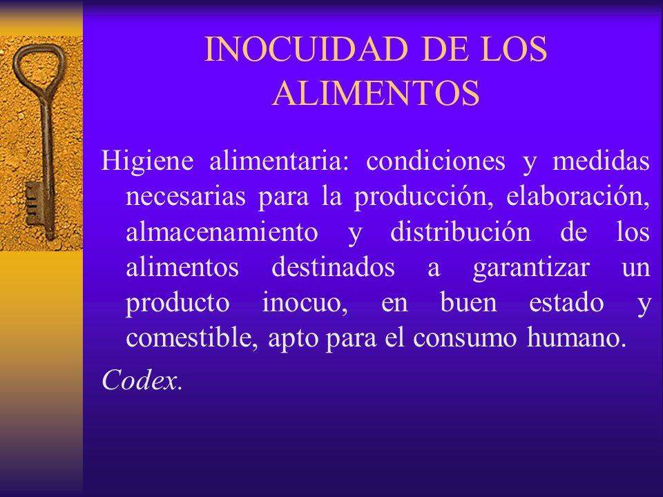 INOCUIDAD DE LOS ALIMENTOS Higiene alimentaria: condiciones y medidas necesarias para la producción, elaboración, almacenamiento y distribución de los