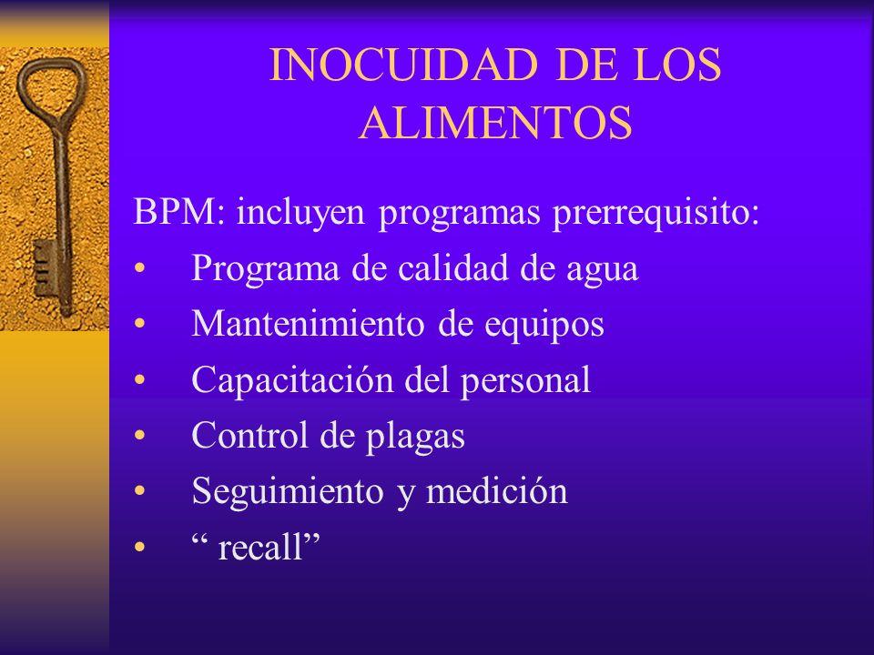 INOCUIDAD DE LOS ALIMENTOS BPM: incluyen programas prerrequisito: Programa de calidad de agua Mantenimiento de equipos Capacitación del personal Contr