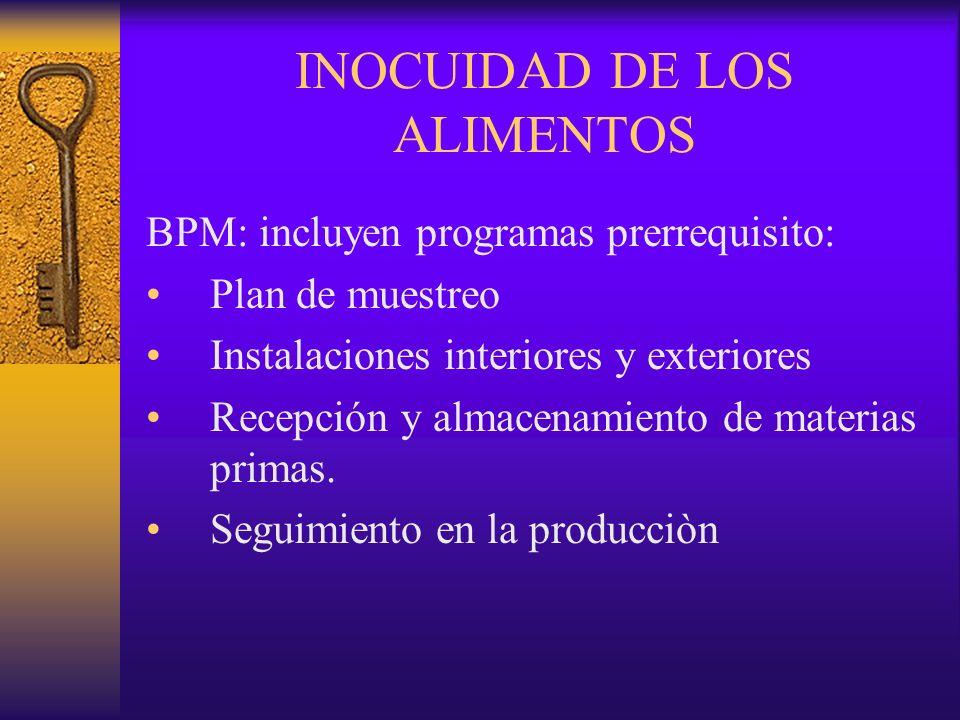 INOCUIDAD DE LOS ALIMENTOS BPM: incluyen programas prerrequisito: Plan de muestreo Instalaciones interiores y exteriores Recepción y almacenamiento de