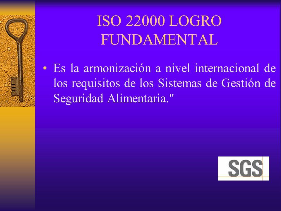 ISO 22000 LOGRO FUNDAMENTAL Es la armonización a nivel internacional de los requisitos de los Sistemas de Gestión de Seguridad Alimentaria.