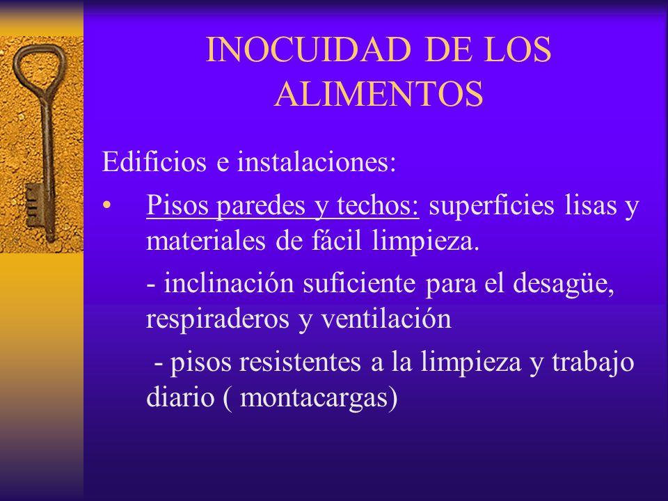 INOCUIDAD DE LOS ALIMENTOS Edificios e instalaciones: Pisos paredes y techos: superficies lisas y materiales de fácil limpieza. - inclinación suficien