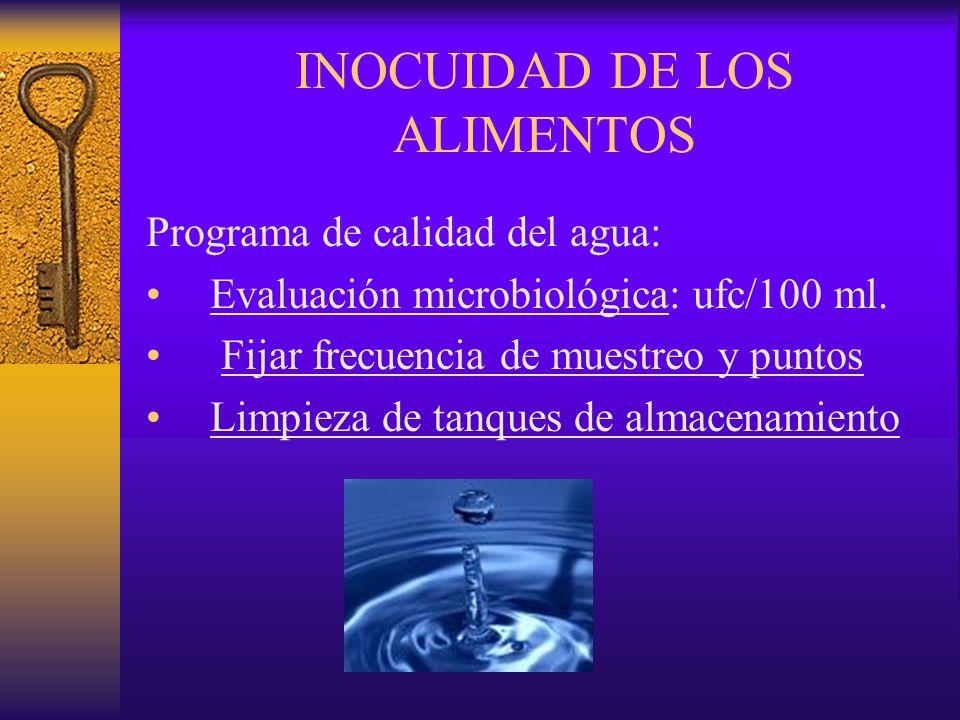 INOCUIDAD DE LOS ALIMENTOS Programa de calidad del agua: Evaluación microbiológica: ufc/100 ml. Fijar frecuencia de muestreo y puntos Limpieza de tanq