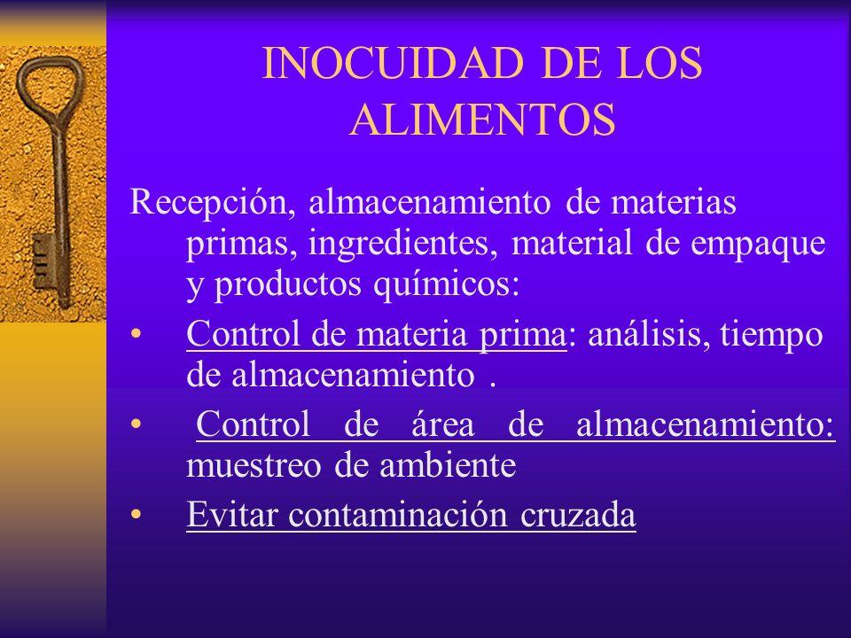 INOCUIDAD DE LOS ALIMENTOS Recepción, almacenamiento de materias primas, ingredientes, material de empaque y productos químicos: Control de materia pr