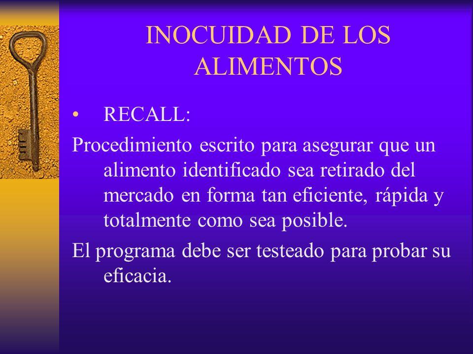 INOCUIDAD DE LOS ALIMENTOS RECALL: Procedimiento escrito para asegurar que un alimento identificado sea retirado del mercado en forma tan eficiente, r
