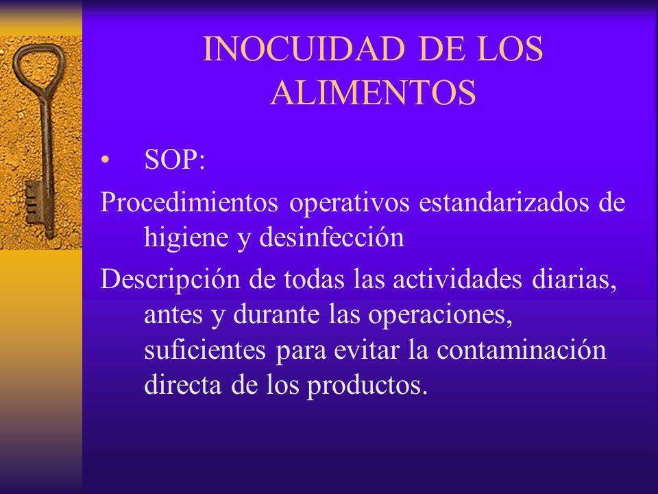 INOCUIDAD DE LOS ALIMENTOS SOP: Procedimientos operativos estandarizados de higiene y desinfección Descripción de todas las actividades diarias, antes