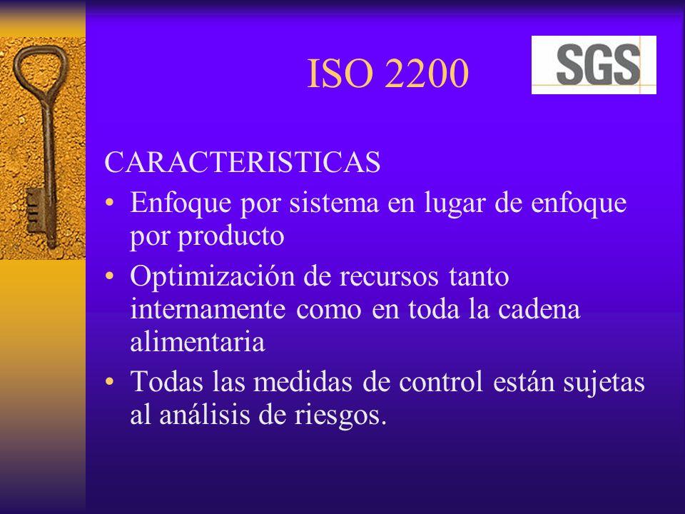ISO 2200 CARACTERISTICAS Enfoque por sistema en lugar de enfoque por producto Optimización de recursos tanto internamente como en toda la cadena alime