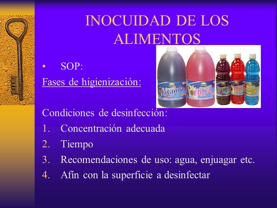 INOCUIDAD DE LOS ALIMENTOS SOP: Fases de higienización: Condiciones de desinfección: 1.Concentración adecuada 2.Tiempo 3.Recomendaciones de uso: agua,