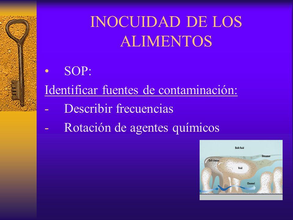 INOCUIDAD DE LOS ALIMENTOS SOP: Identificar fuentes de contaminación: -Describir frecuencias -Rotación de agentes químicos