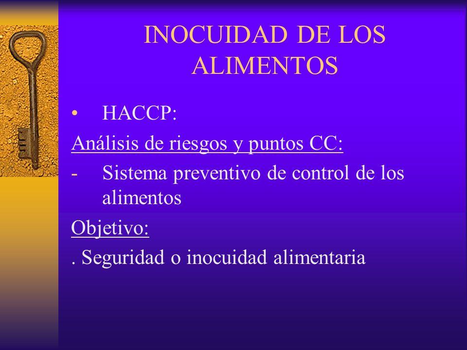 INOCUIDAD DE LOS ALIMENTOS HACCP: Análisis de riesgos y puntos CC: -Sistema preventivo de control de los alimentos Objetivo:. Seguridad o inocuidad al