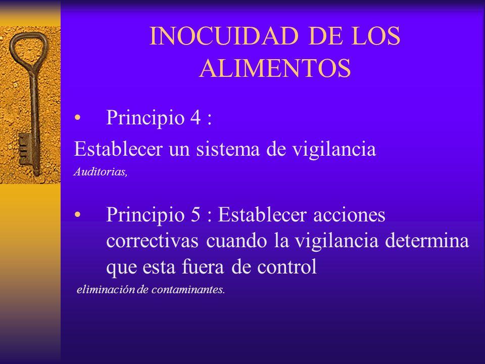 INOCUIDAD DE LOS ALIMENTOS Principio 4 : Establecer un sistema de vigilancia Auditorias, Principio 5 : Establecer acciones correctivas cuando la vigil