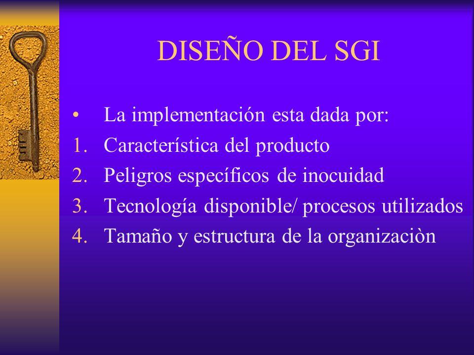DISEÑO DEL SGI La implementación esta dada por: 1.Característica del producto 2.Peligros específicos de inocuidad 3.Tecnología disponible/ procesos ut