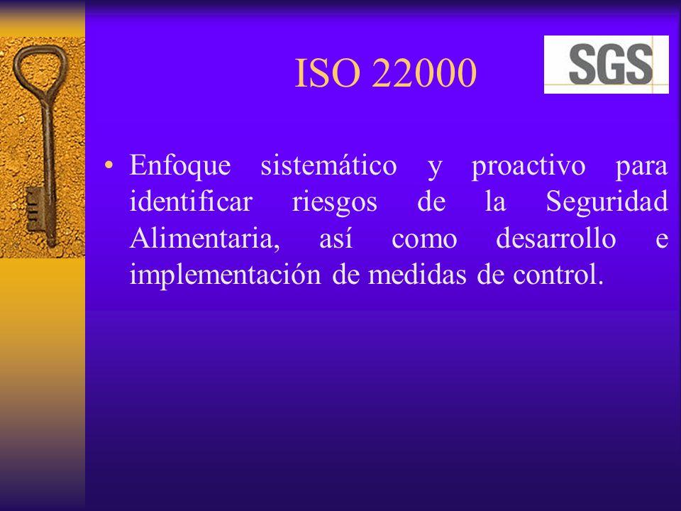ISO 22000 Enfoque sistemático y proactivo para identificar riesgos de la Seguridad Alimentaria, así como desarrollo e implementación de medidas de con