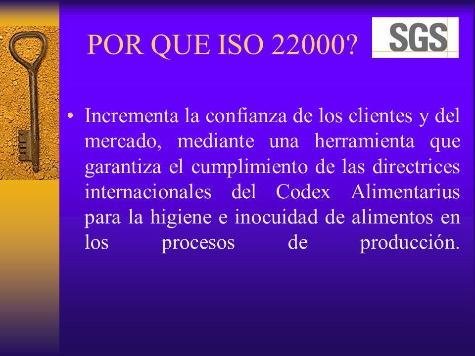 POR QUE ISO 22000? Incrementa la confianza de los clientes y del mercado, mediante una herramienta que garantiza el cumplimiento de las directrices in