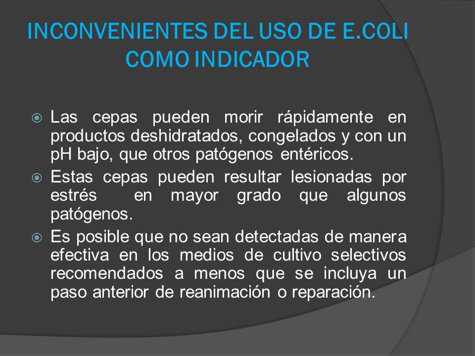 INCONVENIENTES DEL USO DE E.COLI COMO INDICADOR Las cepas pueden morir rápidamente en productos deshidratados, congelados y con un pH bajo, que otros