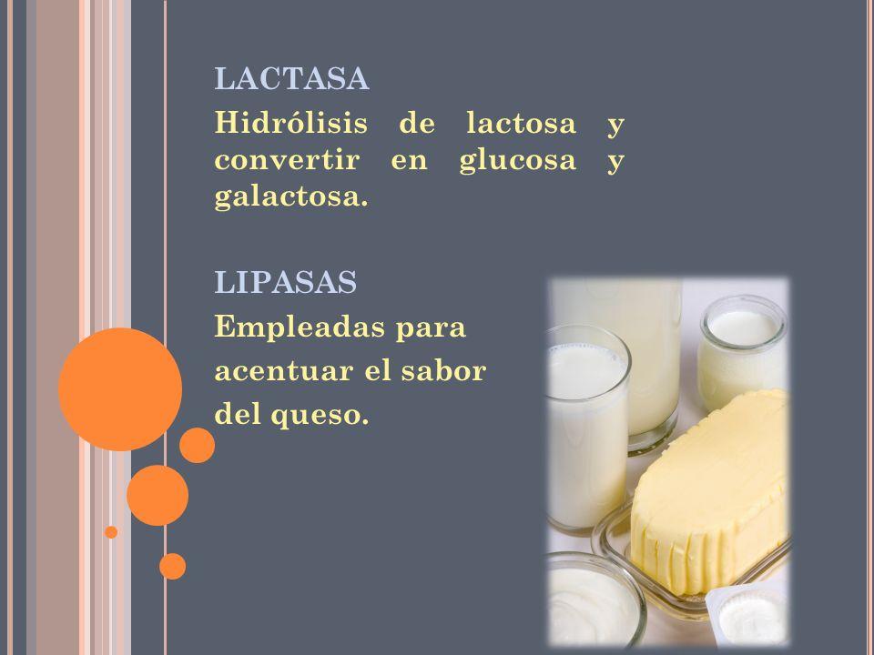 LACTASA Hidrólisis de lactosa y convertir en glucosa y galactosa. LIPASAS Empleadas para acentuar el sabor del queso.