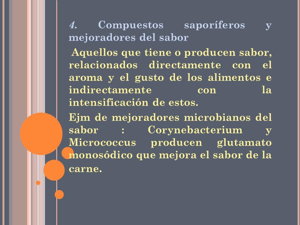 4. Compuestos saporíferos y mejoradores del sabor Aquellos que tiene o producen sabor, relacionados directamente con el aroma y el gusto de los alimen