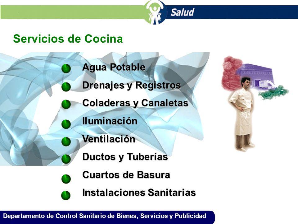 Departamento de Control Sanitario de Bienes, Servicios y Publicidad Servicios de Cocina Agua Potable Drenajes y Registros Coladeras y Canaletas Ilumin