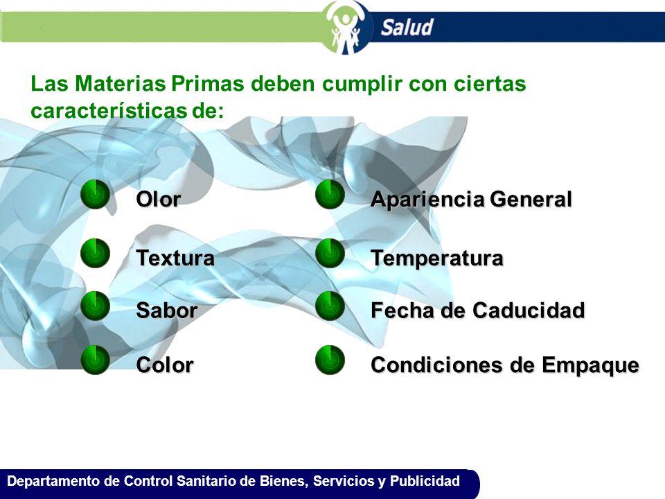 Departamento de Control Sanitario de Bienes, Servicios y Publicidad Las Materias Primas deben cumplir con ciertas características de: Olor Textura Sab