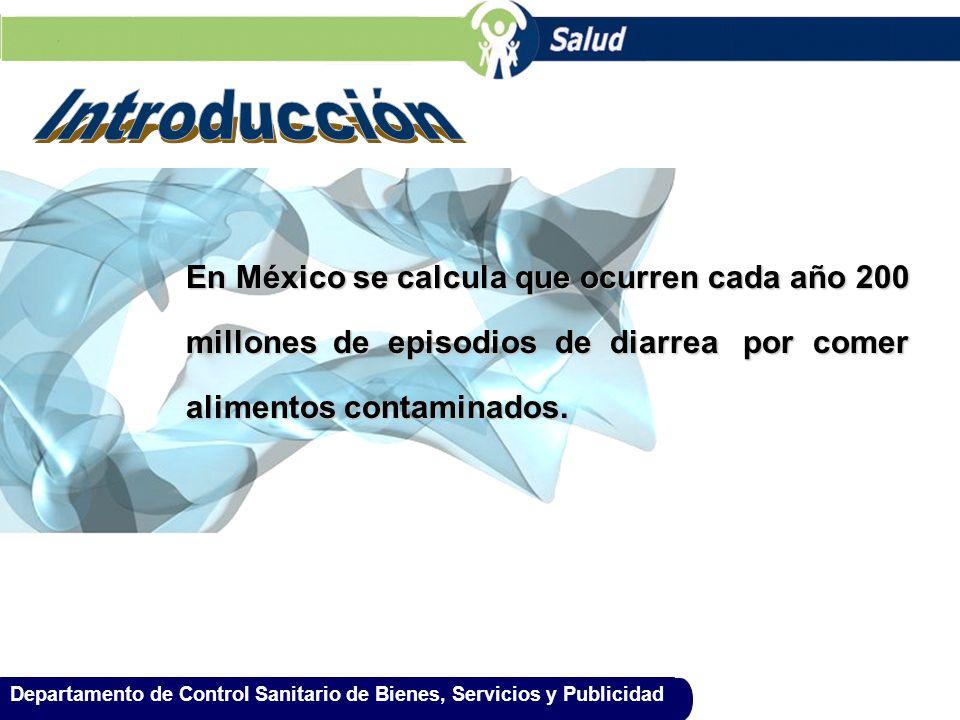 Departamento de Control Sanitario de Bienes, Servicios y Publicidad En México se calcula que ocurren cada año 200 millones de episodios de diarrea por