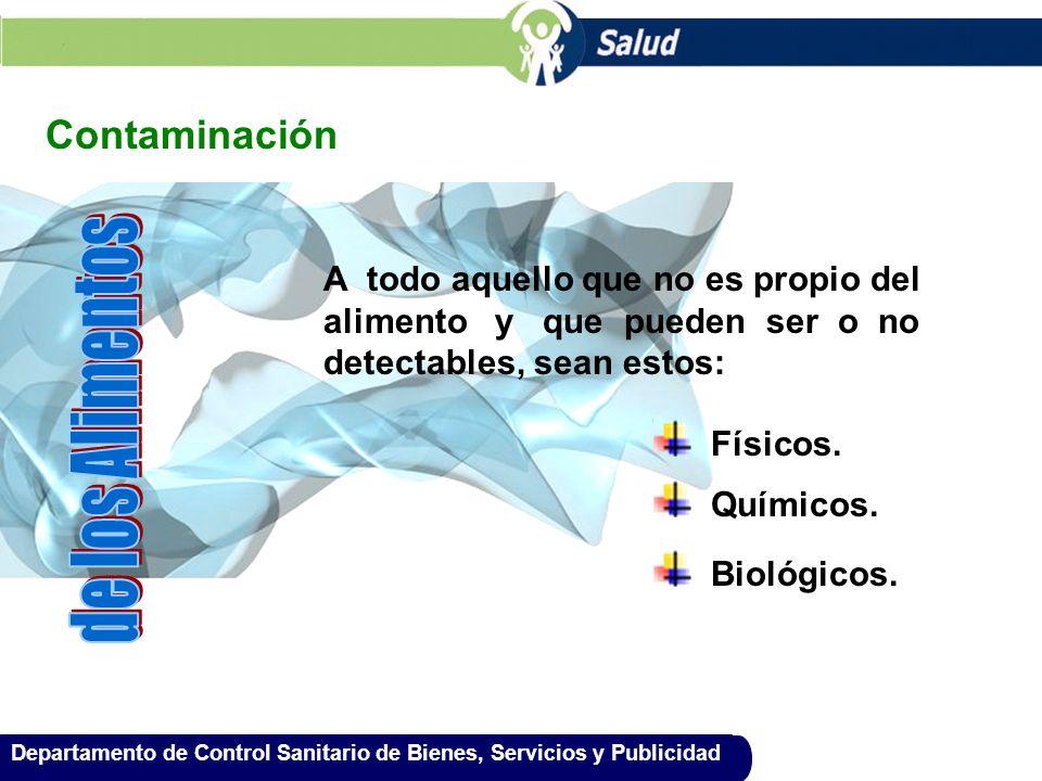 Departamento de Control Sanitario de Bienes, Servicios y Publicidad Contaminación A todo aquello que no es propio del alimento y que pueden ser o no d