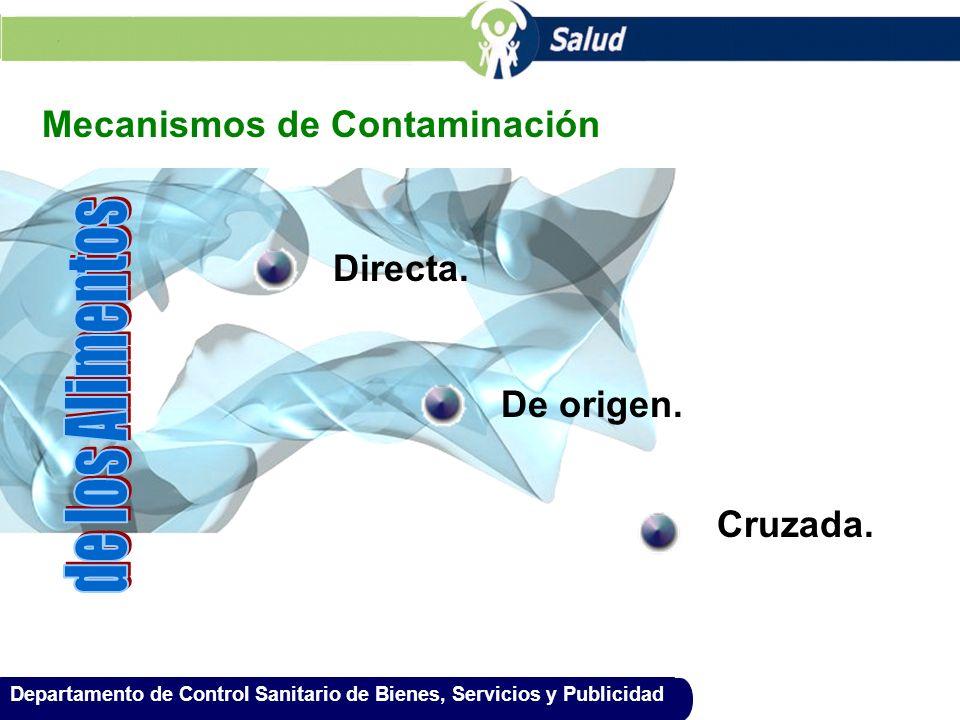 Departamento de Control Sanitario de Bienes, Servicios y Publicidad Mecanismos de Contaminación Directa. De origen. Cruzada.