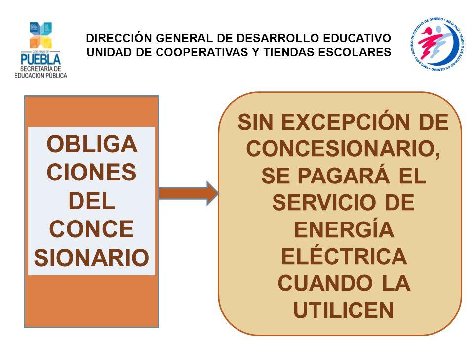 OBLIGA CIONES DEL CONCE SIONARIO SIN EXCEPCIÓN DE CONCESIONARIO, SE PAGARÁ EL SERVICIO DE ENERGÍA ELÉCTRICA CUANDO LA UTILICEN DIRECCIÓN GENERAL DE DE