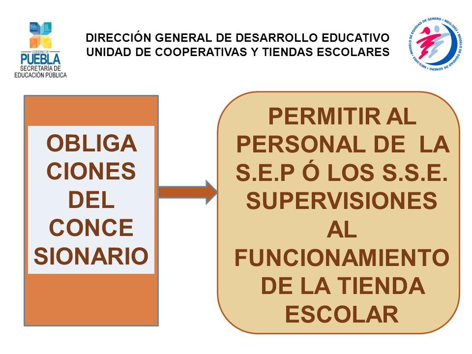 OBLIGA CIONES DEL CONCE SIONARIO PERMITIR AL PERSONAL DE LA S.E.P Ó LOS S.S.E. SUPERVISIONES AL FUNCIONAMIENTO DE LA TIENDA ESCOLAR DIRECCIÓN GENERAL