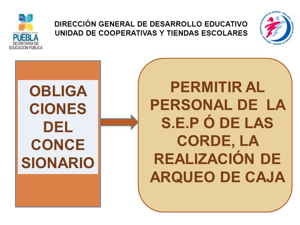 OBLIGA CIONES DEL CONCE SIONARIO PERMITIR AL PERSONAL DE LA S.E.P Ó DE LAS CORDE, LA REALIZACIÓN DE ARQUEO DE CAJA DIRECCIÓN GENERAL DE DESARROLLO EDU
