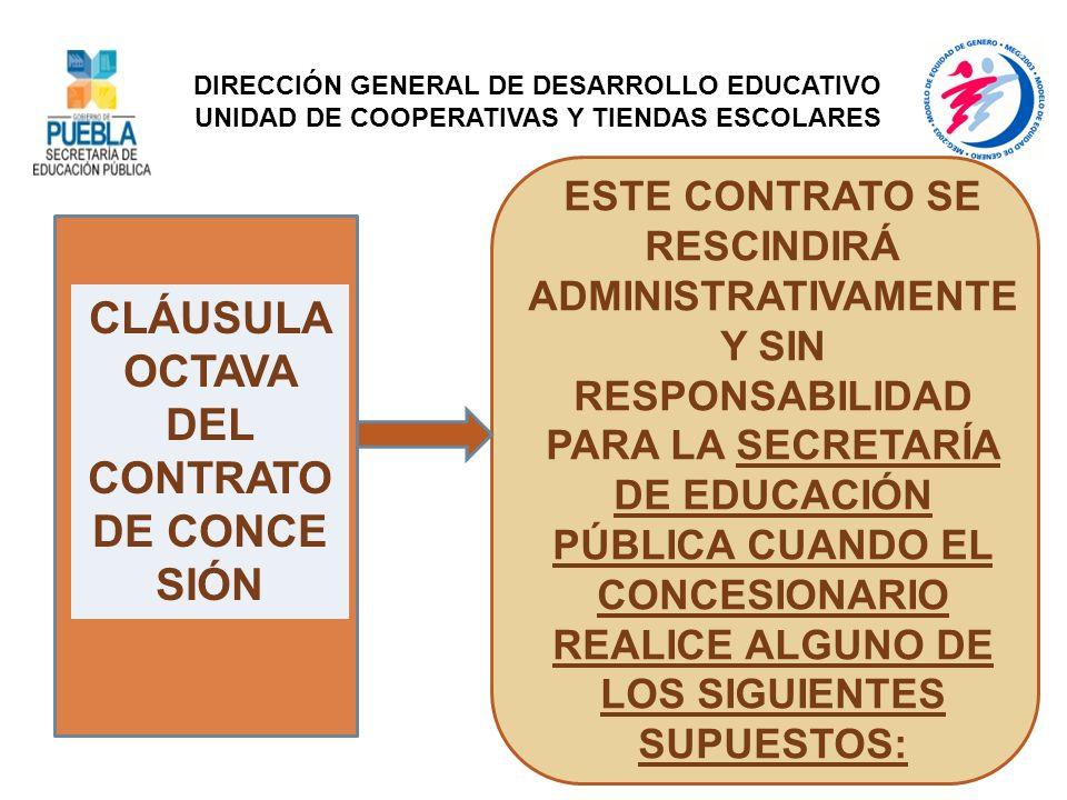 CLÁUSULA OCTAVA DEL CONTRATO DE CONCE SIÓN ESTE CONTRATO SE RESCINDIRÁ ADMINISTRATIVAMENTE Y SIN RESPONSABILIDAD PARA LA SECRETARÍA DE EDUCACIÓN PÚBLI