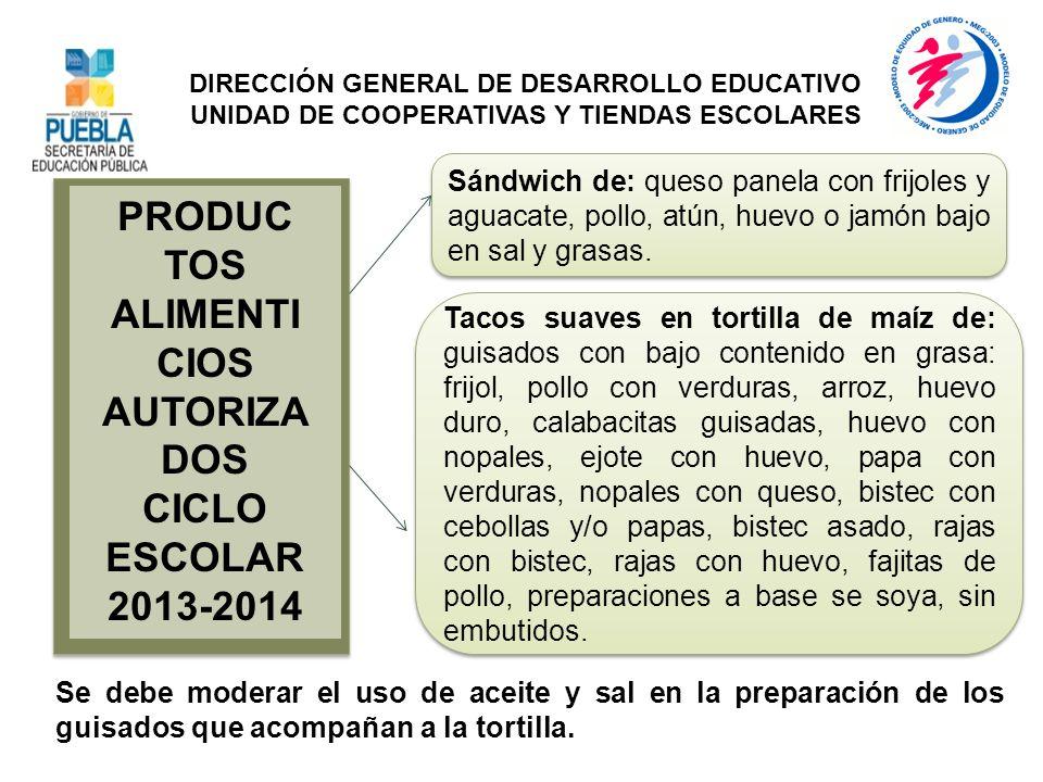 PRODUC TOS ALIMENTI CIOS AUTORIZA DOS CICLO ESCOLAR 2013-2014 Sándwich de: queso panela con frijoles y aguacate, pollo, atún, huevo o jamón bajo en sa