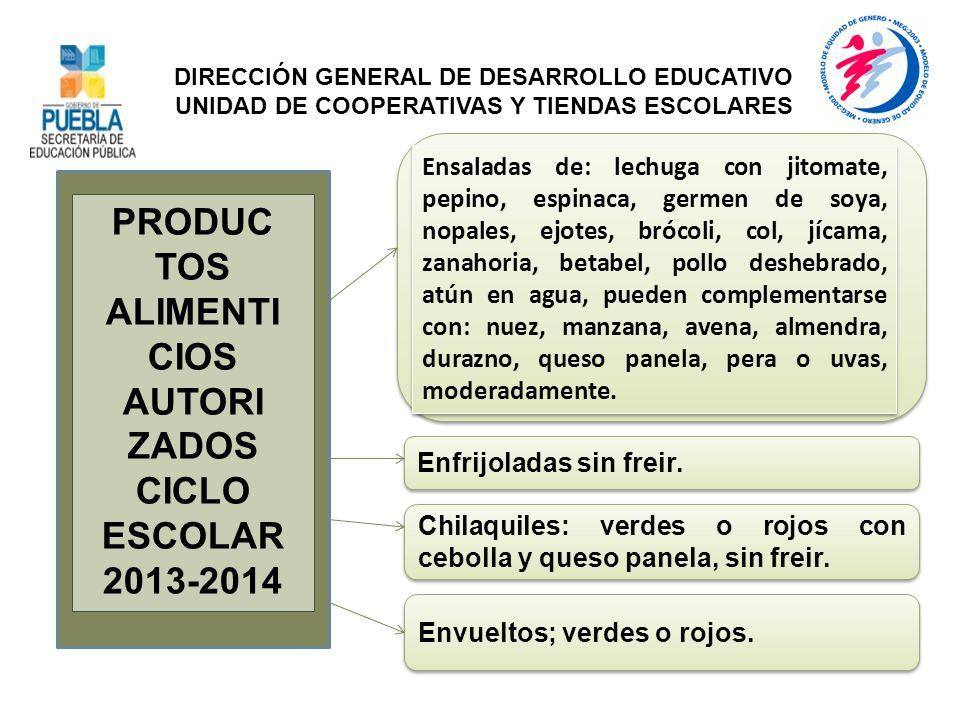 PRODUC TOS ALIMENTI CIOS AUTORI ZADOS CICLO ESCOLAR 2013-2014 Ensaladas de: lechuga con jitomate, pepino, espinaca, germen de soya, nopales, ejotes, b