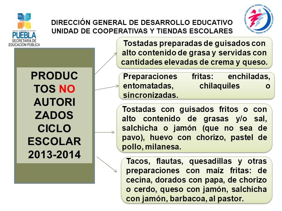 PRODUC TOS NO AUTORI ZADOS CICLO ESCOLAR 2013-2014 Tostadas preparadas de guisados con alto contenido de grasa y servidas con cantidades elevadas de c