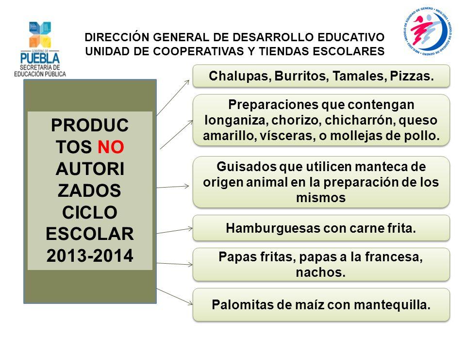 PRODUC TOS NO AUTORI ZADOS CICLO ESCOLAR 2013-2014 Chalupas, Burritos, Tamales, Pizzas. DIRECCIÓN GENERAL DE DESARROLLO EDUCATIVO UNIDAD DE COOPERATIV