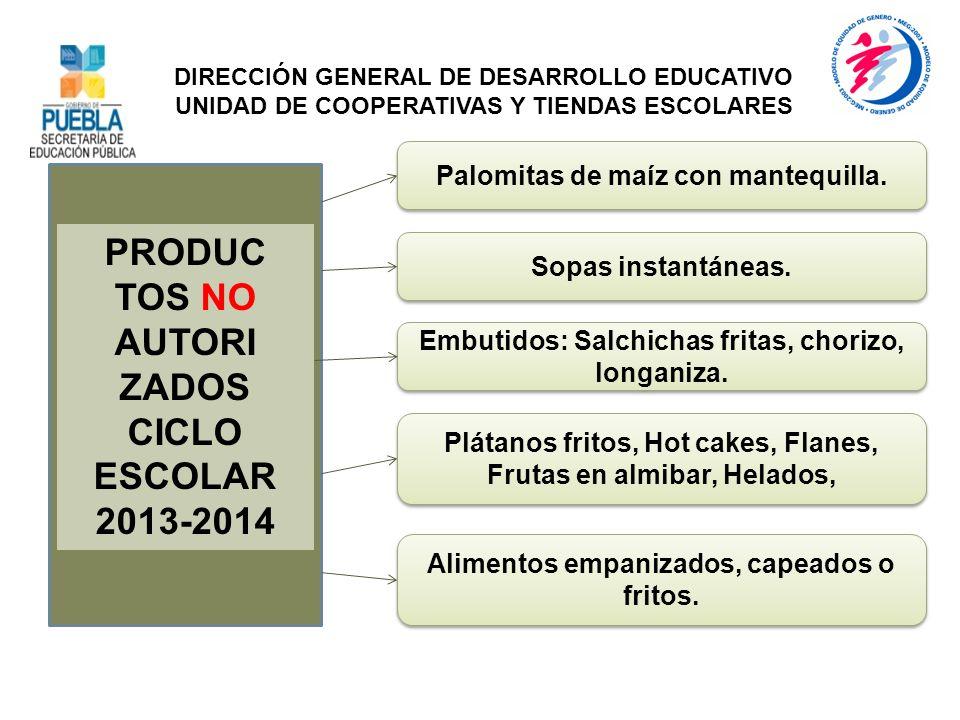 PRODUC TOS NO AUTORI ZADOS CICLO ESCOLAR 2013-2014 Embutidos: Salchichas fritas, chorizo, longaniza. DIRECCIÓN GENERAL DE DESARROLLO EDUCATIVO UNIDAD