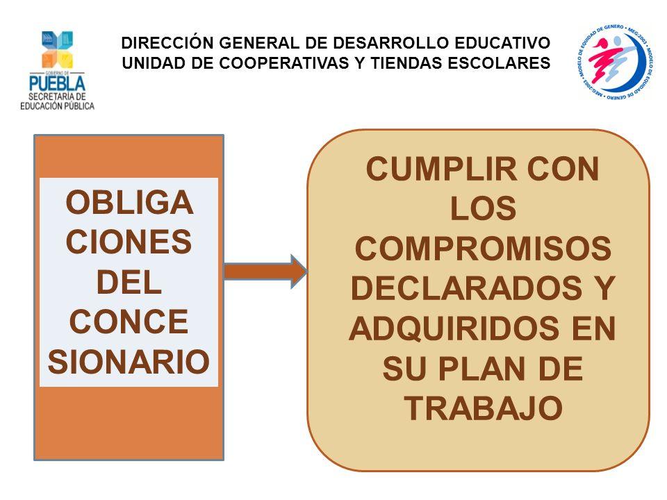 OBLIGA CIONES DEL CONCE SIONARIO CUMPLIR CON LOS COMPROMISOS DECLARADOS Y ADQUIRIDOS EN SU PLAN DE TRABAJO DIRECCIÓN GENERAL DE DESARROLLO EDUCATIVO U