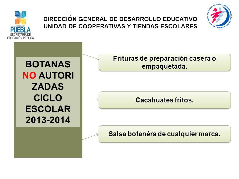 BOTANAS NO AUTORI ZADAS CICLO ESCOLAR 2013-2014 Salsa botanéra de cualquier marca. DIRECCIÓN GENERAL DE DESARROLLO EDUCATIVO UNIDAD DE COOPERATIVAS Y