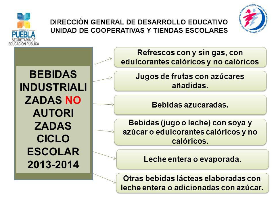 BEBIDAS INDUSTRIALI ZADAS NO AUTORI ZADAS CICLO ESCOLAR 2013-2014 Leche entera o evaporada. DIRECCIÓN GENERAL DE DESARROLLO EDUCATIVO UNIDAD DE COOPER