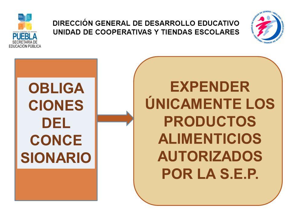 OBLIGA CIONES DEL CONCE SIONARIO EXPENDER ÚNICAMENTE LOS PRODUCTOS ALIMENTICIOS AUTORIZADOS POR LA S.E.P. DIRECCIÓN GENERAL DE DESARROLLO EDUCATIVO UN