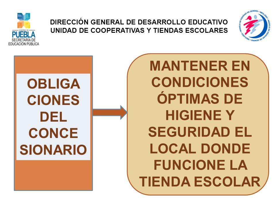 OBLIGA CIONES DEL CONCE SIONARIO MANTENER EN CONDICIONES ÓPTIMAS DE HIGIENE Y SEGURIDAD EL LOCAL DONDE FUNCIONE LA TIENDA ESCOLAR DIRECCIÓN GENERAL DE