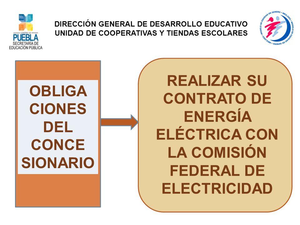 OBLIGA CIONES DEL CONCE SIONARIO REALIZAR SU CONTRATO DE ENERGÍA ELÉCTRICA CON LA COMISIÓN FEDERAL DE ELECTRICIDAD DIRECCIÓN GENERAL DE DESARROLLO EDU