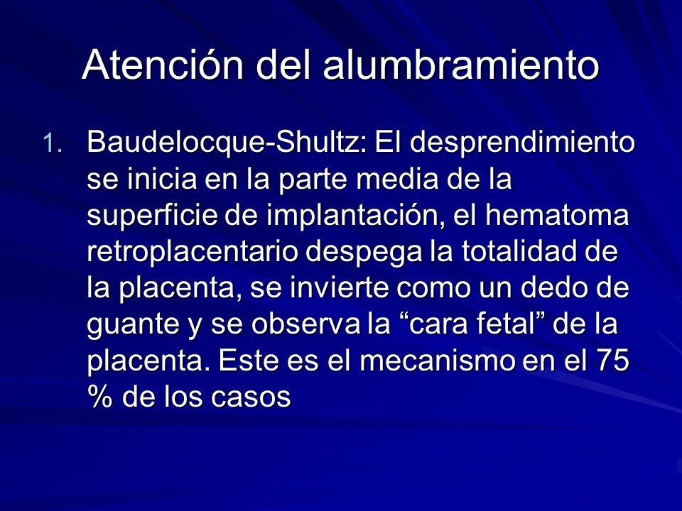Atención del alumbramiento 1. Baudelocque-Shultz: El desprendimiento se inicia en la parte media de la superficie de implantación, el hematoma retropl
